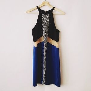 Dress by NBD zipper back black blue halter size L